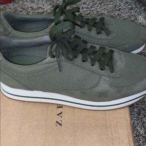 Olive Green Casual Zara Sneakers